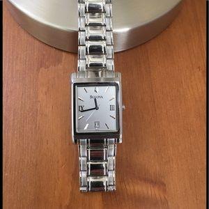 Bulova men's stainless steel watch.